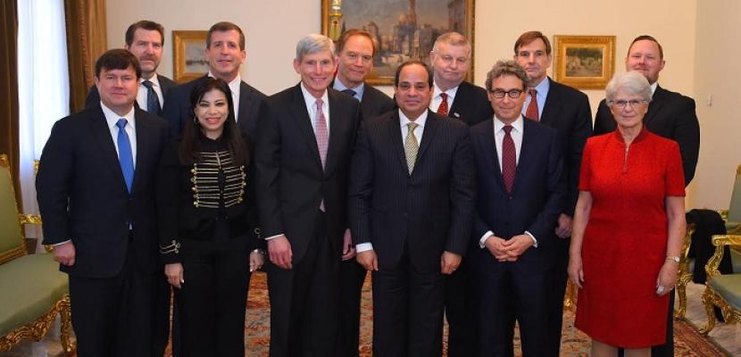 الرئيس السيسى يستعرض آخر المستجدات مع وفد مجلس أعمال الأمن القومى الأمريكى