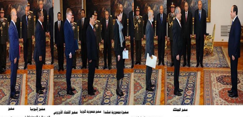 بالصور .. الرئيس السيسى يتسلم أوراق اعتماد سبعة سفراء جدد