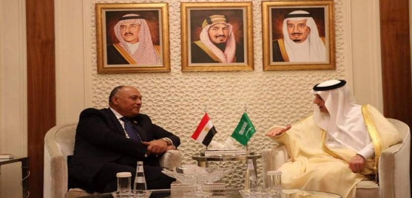 وزير الخارجية يجري مباحثات مع نظيره السعودي بالرياض