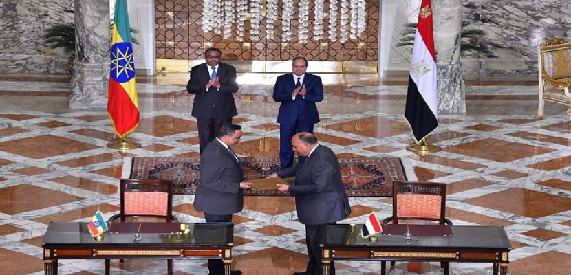 بالفيديو والصور.. الرئيس السيسي ورئيس الوزراء الاثيوبي يشهدان توقيع عدد من الاتفاقيات الثنائية