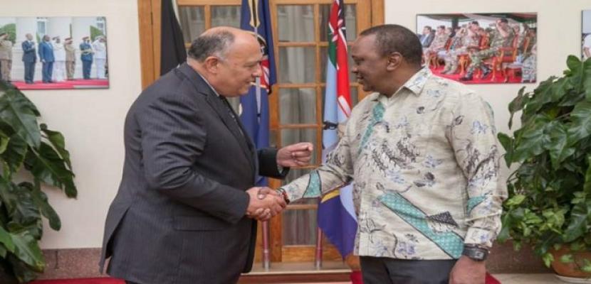 شكري يلتقي الرئيس الكيني حاملا رسالة من الرئيس السيسي