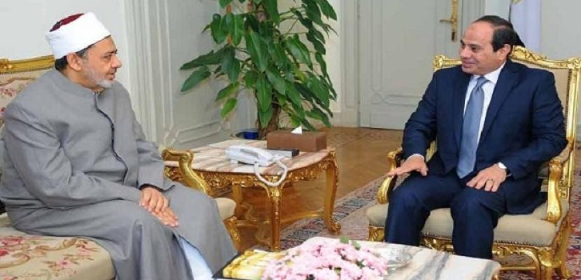 شيخ الأزهر يهنئ الرئيس السيسي هاتفيا بحلول شهر رمضان المبارك