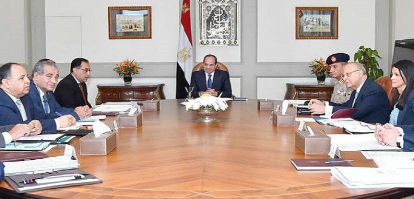 الرئيس السيسي يجتمع بقيادات الدولة لمناقشة توفير السلع بأسعار مناسبة