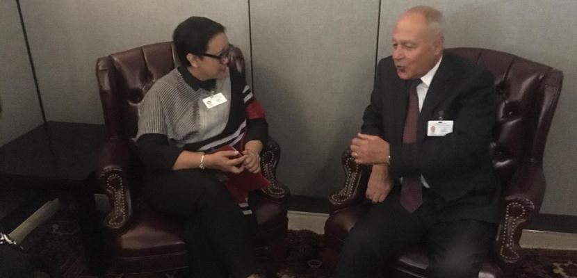 أبو الغيط يبحث في نيويورك مع وزير الخارجية الأندونيسي تطورات الأوضاع في الشرق الأوسط