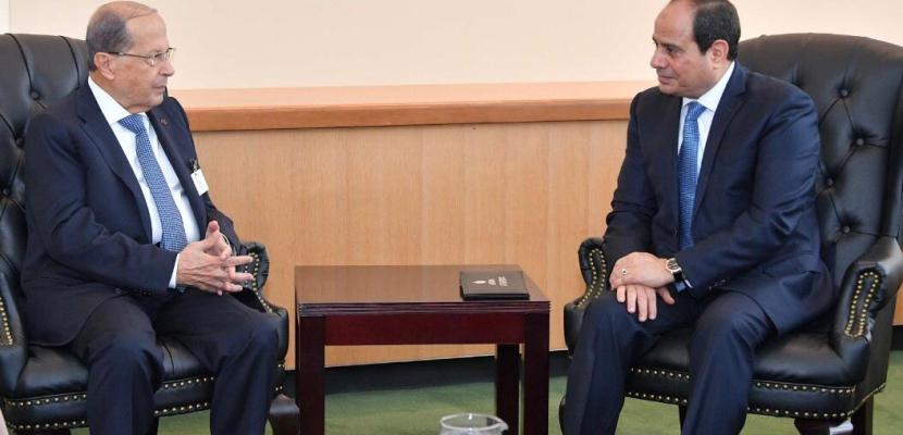 علي هامش  اجتماعات الجمعية العامة.. الرئيس السيسي يلتقى الرئيس اللبناني ورئيسى وزراء النرويج وبلغاريا