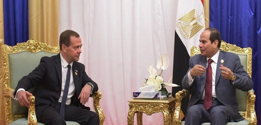 الرئيس السيسى يلقى اليوم كلمة أمام مجلس الفيدرالية الروسى ويلتقى ميدفيديف