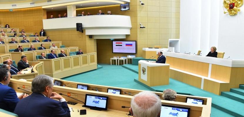 بالفيديو.. أمام المجلس الفيدرالى الروسي.. السيسي: علاقة مصر وروسيا تتميز بالخصوصية وهو ما تجلى في وقت الأزمات