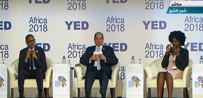 فعاليات جلسة شباب رواد الأعمال بإفريقيا بحضور الرئيس السيسي