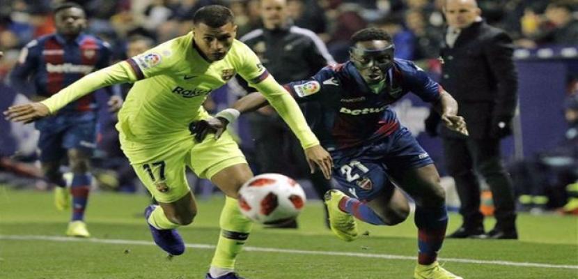 ليفانتي يهزم برشلونة في ذهاب دور الـ16 لكأس ملك إسبانيا