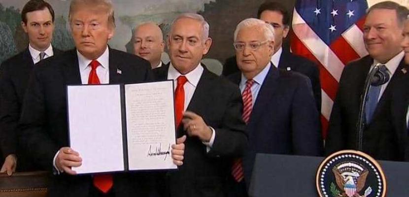 ترامب يوقع مرسوماً يعترف بالسيادة الإسرائيلية على الجولان السورية المحتلة