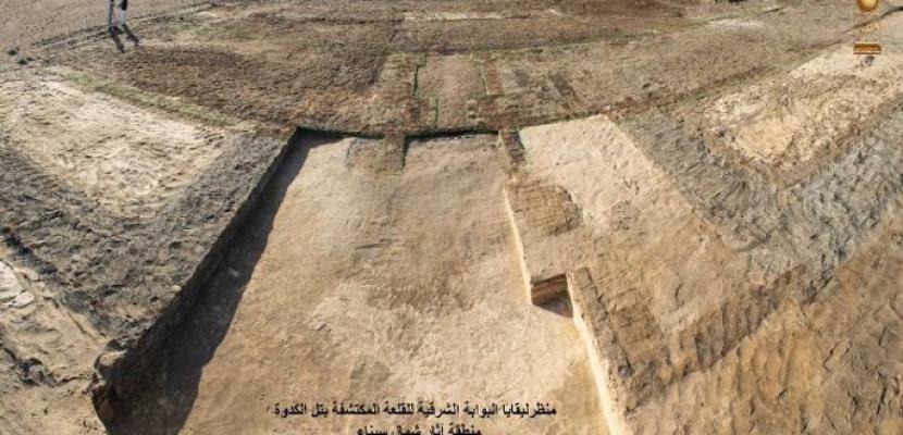 الكشف عن بقايا أبراج قلعة عسكرية من عصر الملك بسماتيك الأول بتل الكدوة بشمال سيناء