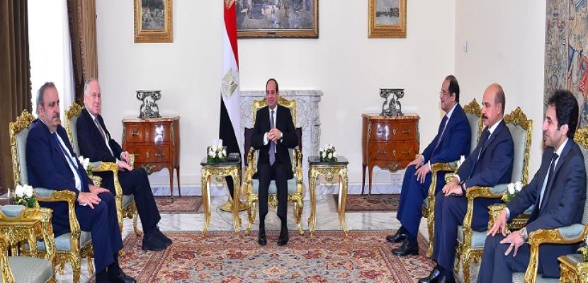 الرئيس السيسي: تسوية النزاع الفلسطيني الإسرائيلي يفتح افاقا جديدة للتنمية والاستقرار بالمنطقة