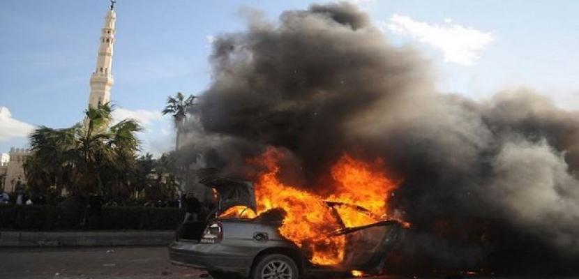 احتراق سيارة جراء اشتباكات الإخوان والأهالى بمحيط ميدان الألف مسكن