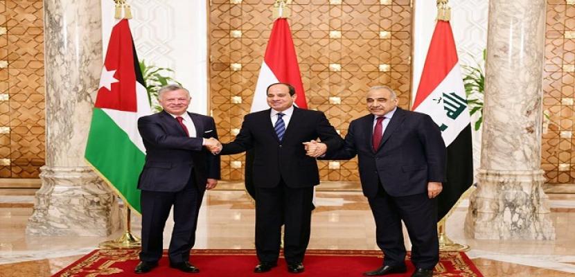 بالصور.. القمة المصرية الأردنية العراقية بالقاهرة تبحث القضايا الإقليمية والتعاون المشترك