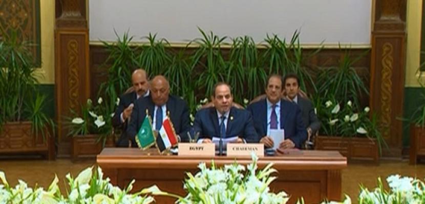 كلمة الرئيس السيسي فى الجلسة الافتتاحية للقمة التشاورية حول ليبيا