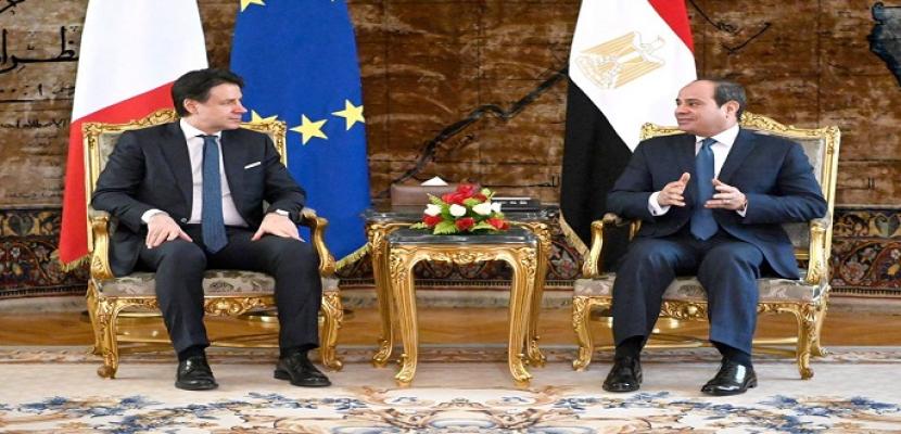 بالصور.. السيسي ورئيس الوزراء الإيطالي يؤكدان ضرورة تكثيف الجهود للوصول إلى حل شامل للأزمة الليبية