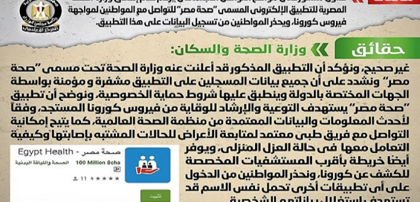 """الحكومة تنفي صحة منشور يزعم عدم إطلاق وزارة الصحة لتطبيق """"صحة مصر"""" لمواجهة فيروس كورونا"""