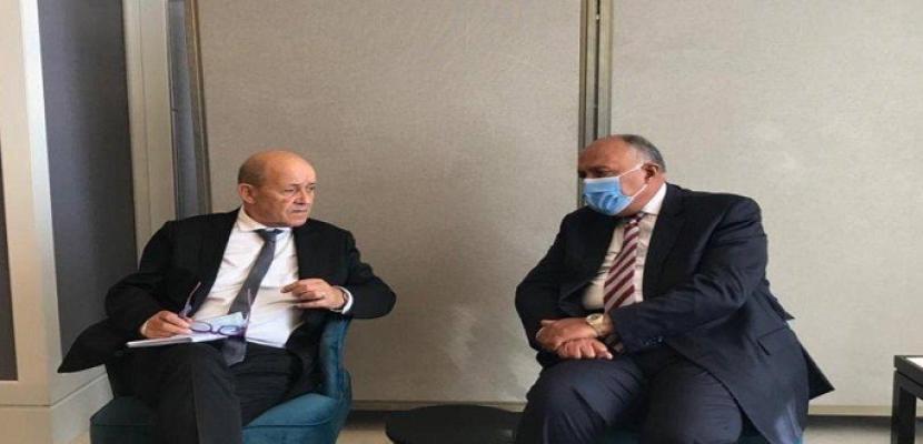 شكري يلتقي وزير خارجية فرنسا على هامش الاجتماع الوزاري الرباعي بعمّان