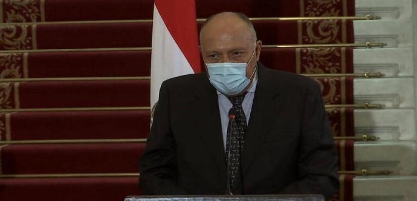 بالفيديو .. خلال مؤتمر صحفى مع نظيرته الاسبانية .. شكرى يؤكد رفض مصر لسياسة التوسع وخلق التوتر في المتوسط