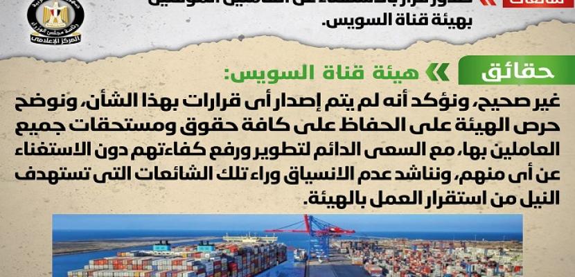 بالصور.. مجلس الوزراء: لا صحة لصدور قرار بالاستغناء عن العاملين المؤقتين بهيئة قناة السويس