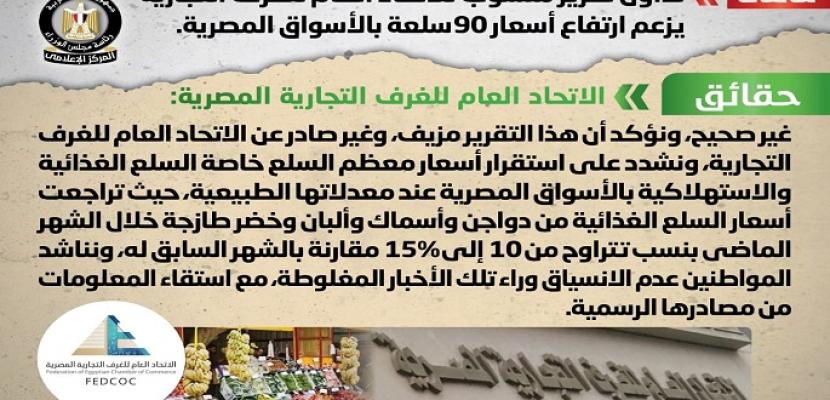 بالإنفوجراف .. مجلس الوزراء ينفي ارتفاع أسعار 90 سلعة بالأسواق المصرية