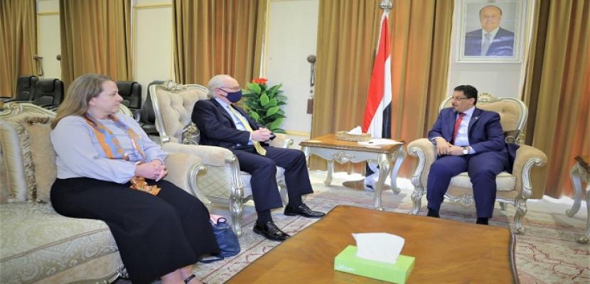 وزير خارجية اليمن يبحث مع المبعوثين الأمريكي والأممي سبل تحقيق السلام
