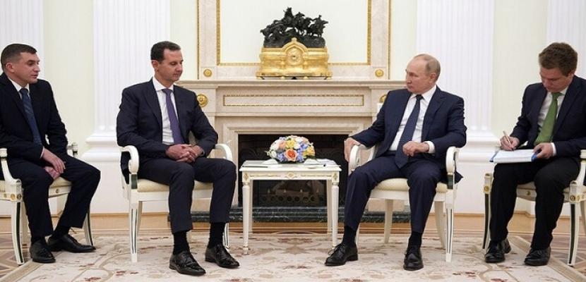 خلال استقباله الأسد في الكرملين .. بوتين : مشكلة سوريا الأساسية هى الوجود غير الشرعي لقوات أجنبية على أراضيها