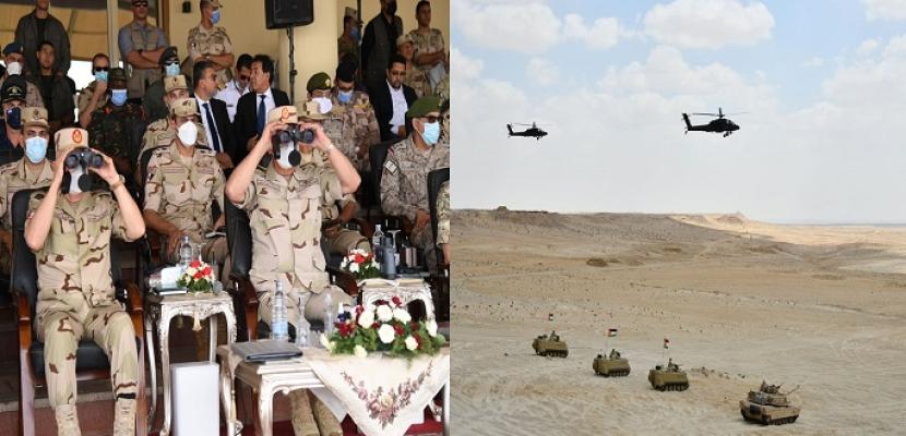 بالفيديو والصور.. وزير الدفاع يشهد المرحلة الختامية لفاعليات التدريب المشترك (النجم الساطع 2021)