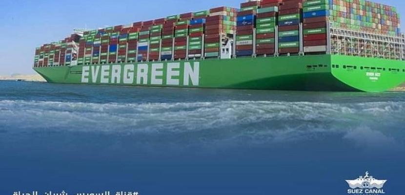 العبور الأول لسفينة الحاويات البنمية العملاقة EVER ACT  بقناة السويس الجديدة
