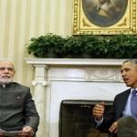 أوباما في مؤتمر صحفي مشترك عقده مع رئيس الوزراء الهندي ناريندرا مودي في نيودلهي