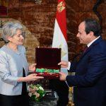السيسى يمنح بوكوفا وسام الجمهورية من الطبقة الاولى